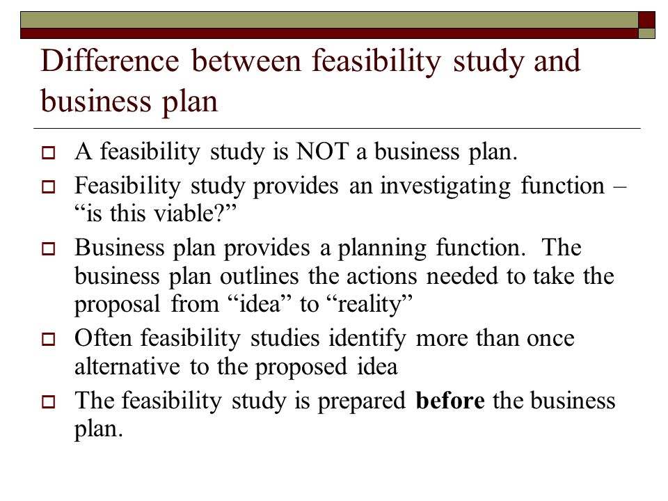 Feasibility study and business plan