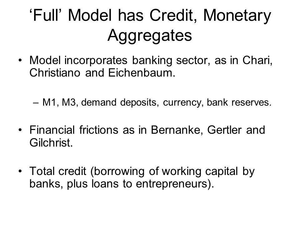 'Full' Model has Credit, Monetary Aggregates