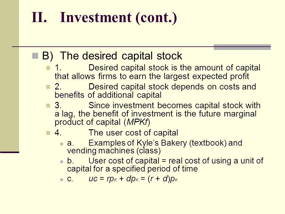 II. Investment (cont.) B) The desired capital stock