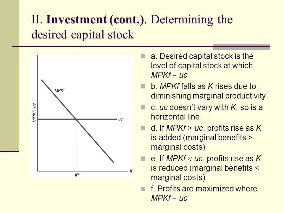 II. Investment (cont.). Determining the desired capital stock
