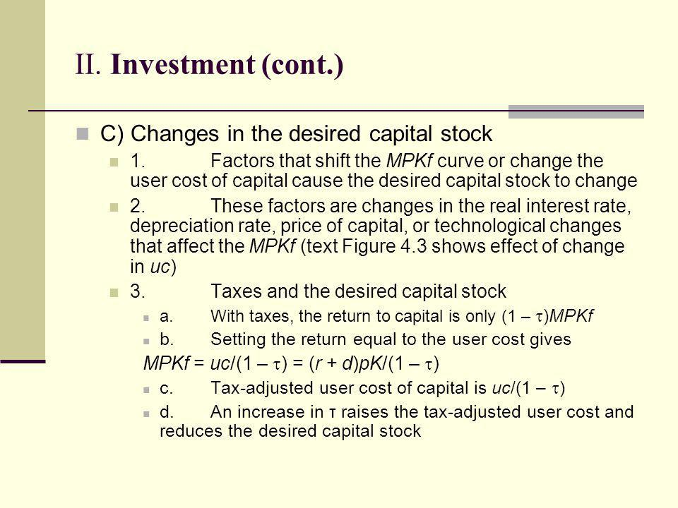 II. Investment (cont.) C) Changes in the desired capital stock