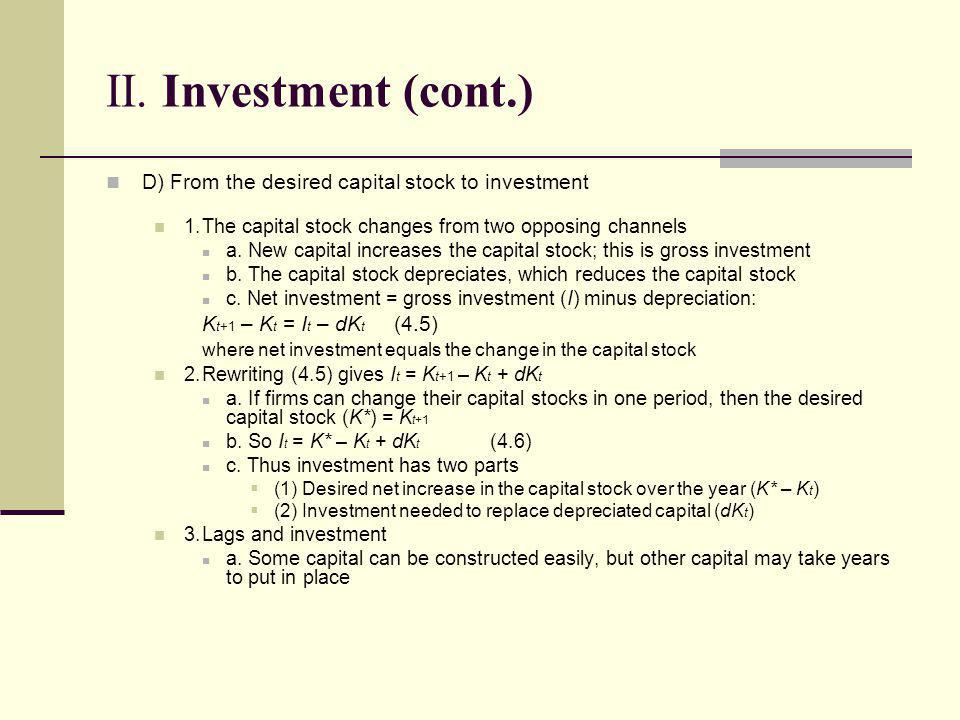 II. Investment (cont.) D) From the desired capital stock to investment