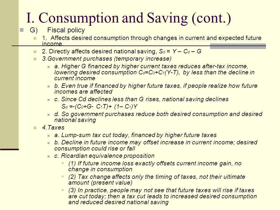 I. Consumption and Saving (cont.)