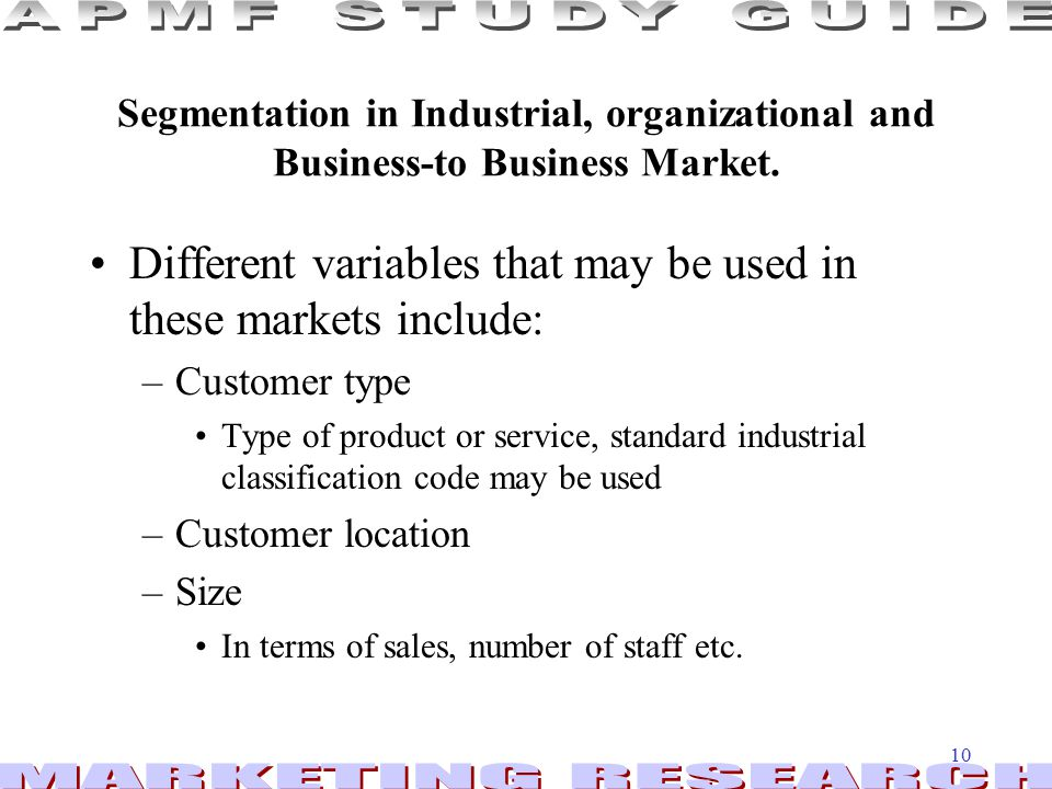 Different variables that may be used in these markets include: