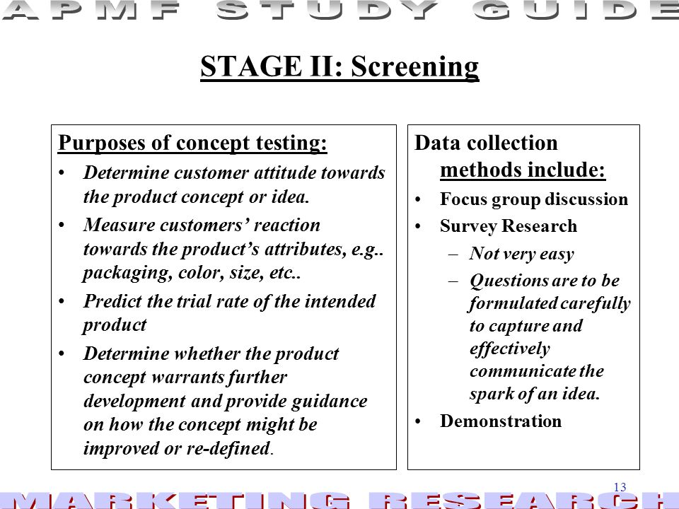 STAGE II: Screening Purposes of concept testing: