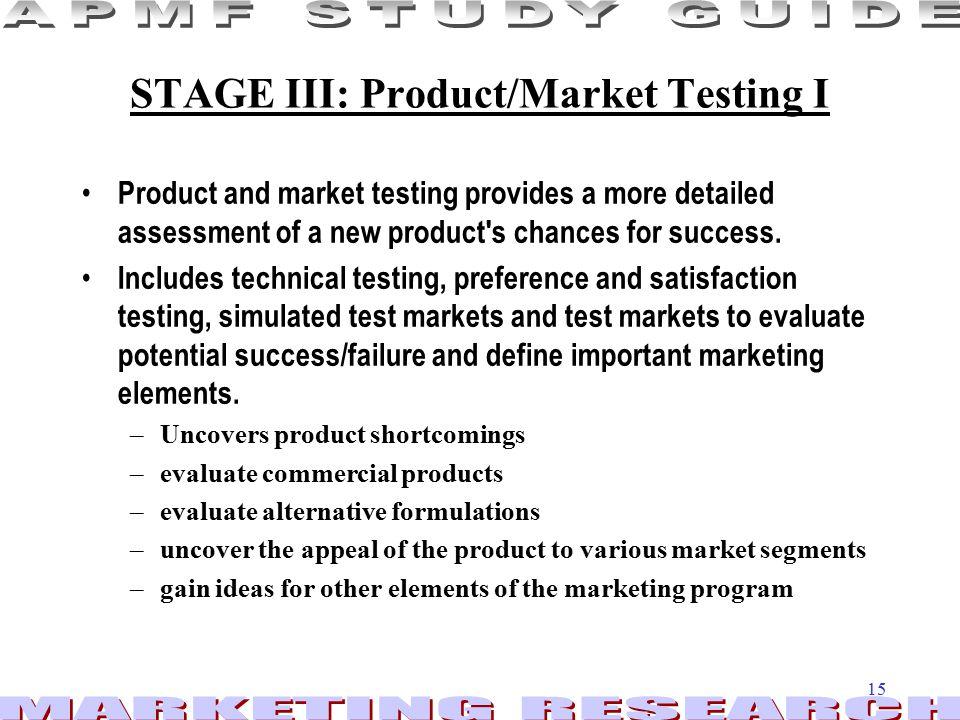 STAGE III: Product/Market Testing I