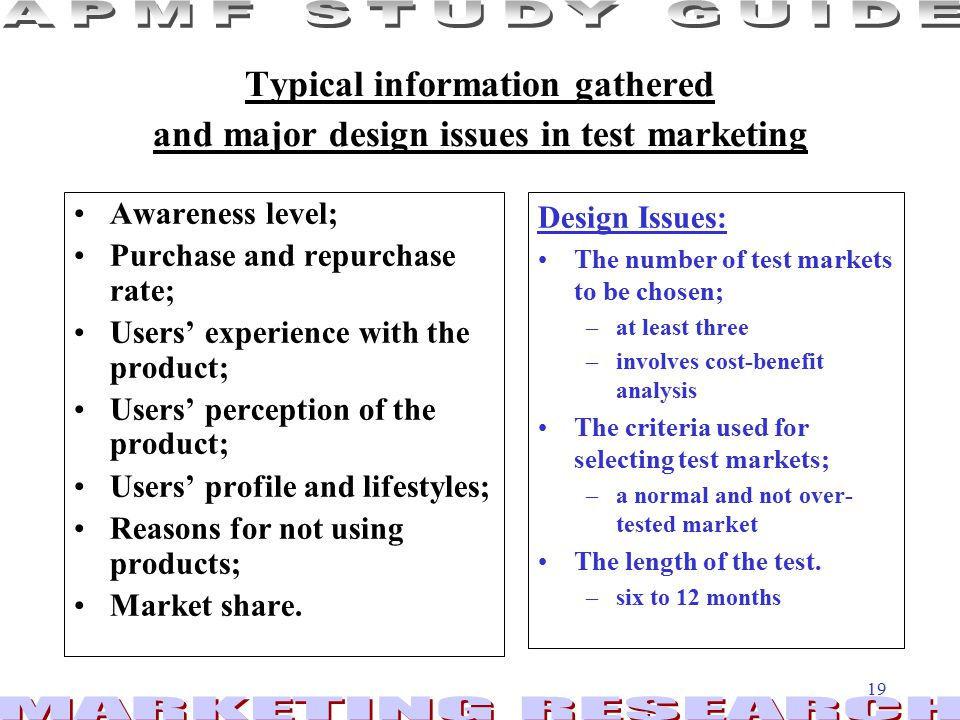 Typical information gathered and major design issues in test marketing