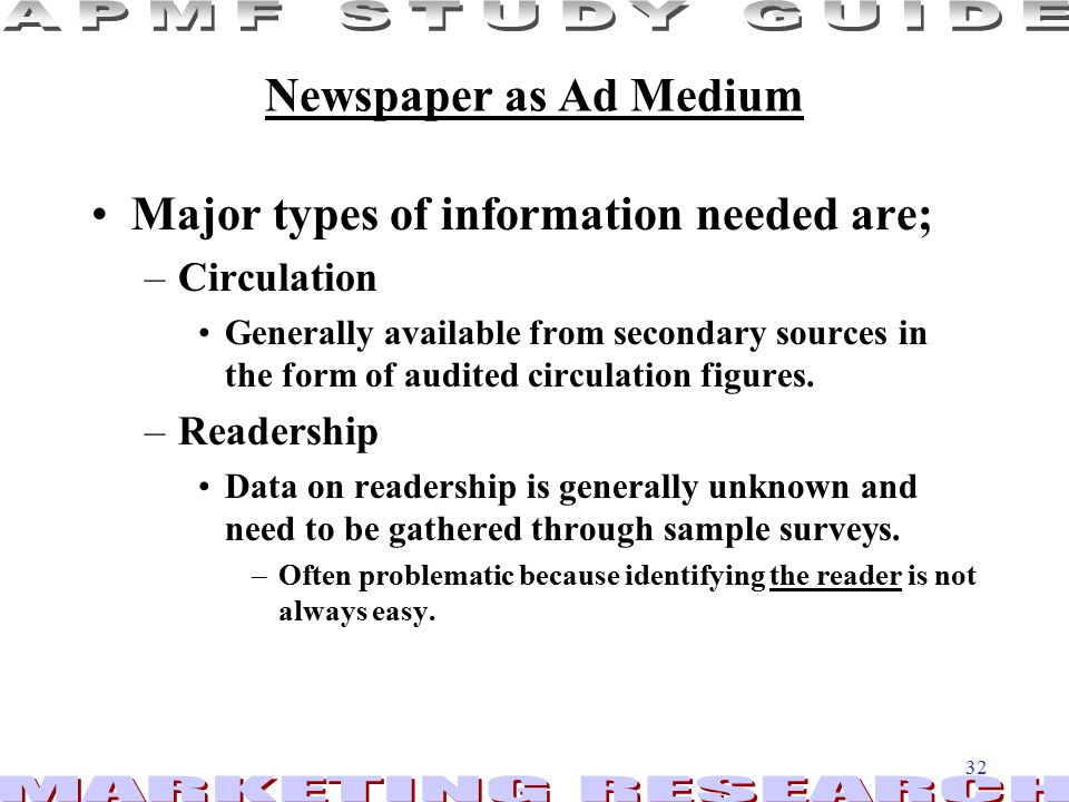 Major types of information needed are;