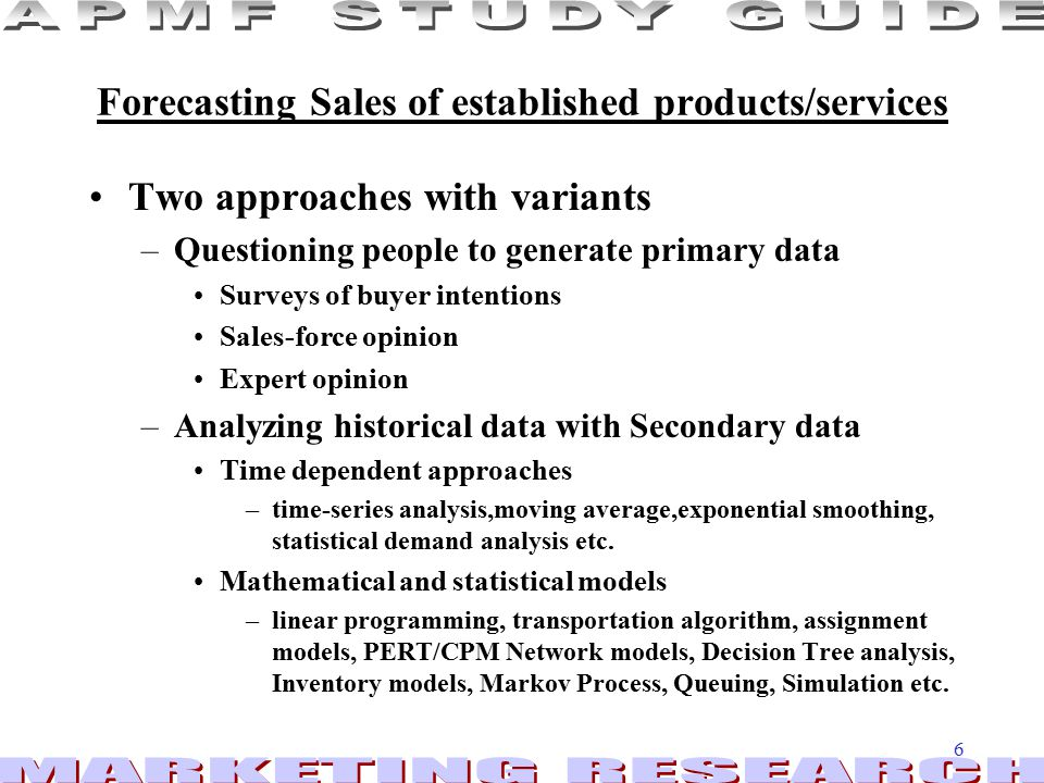Forecasting Sales of established products/services