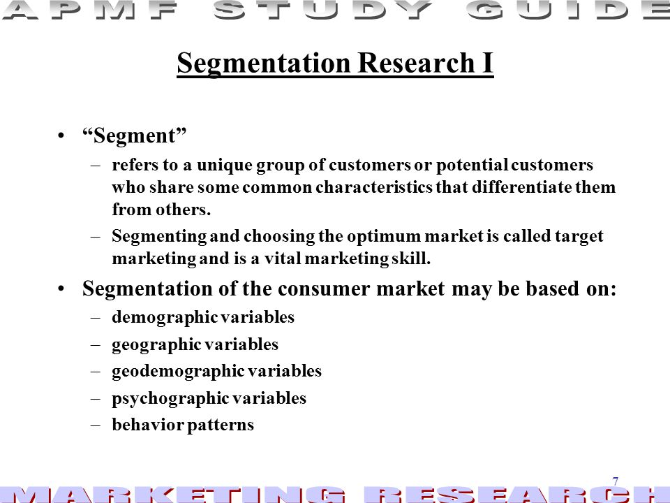 Segmentation Research I
