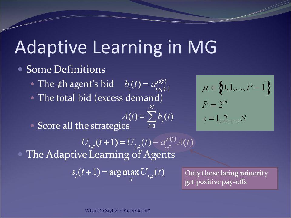 Adaptive Learning in MG