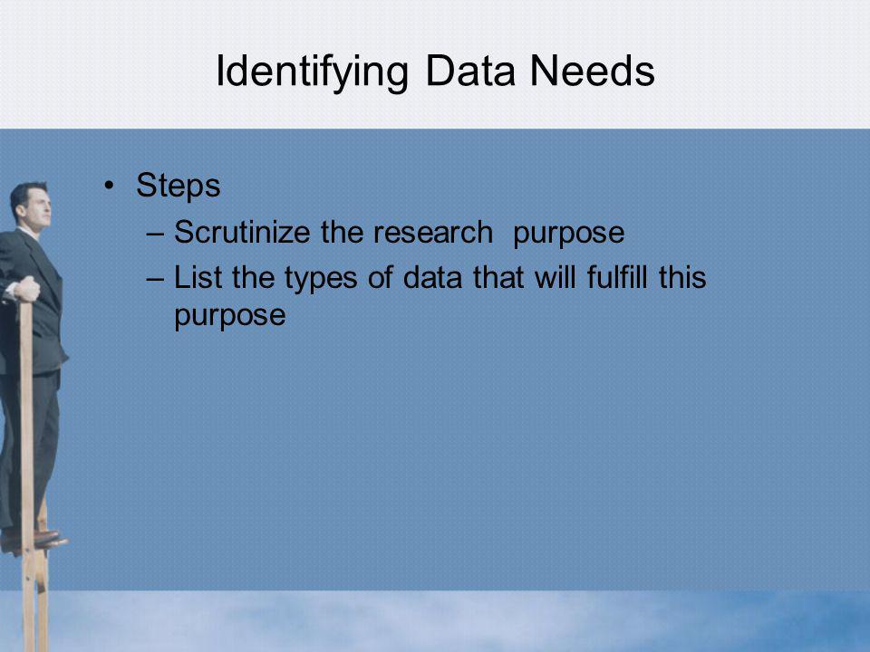 Identifying Data Needs