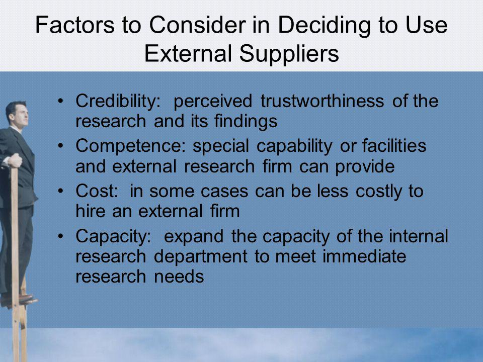 Factors to Consider in Deciding to Use External Suppliers