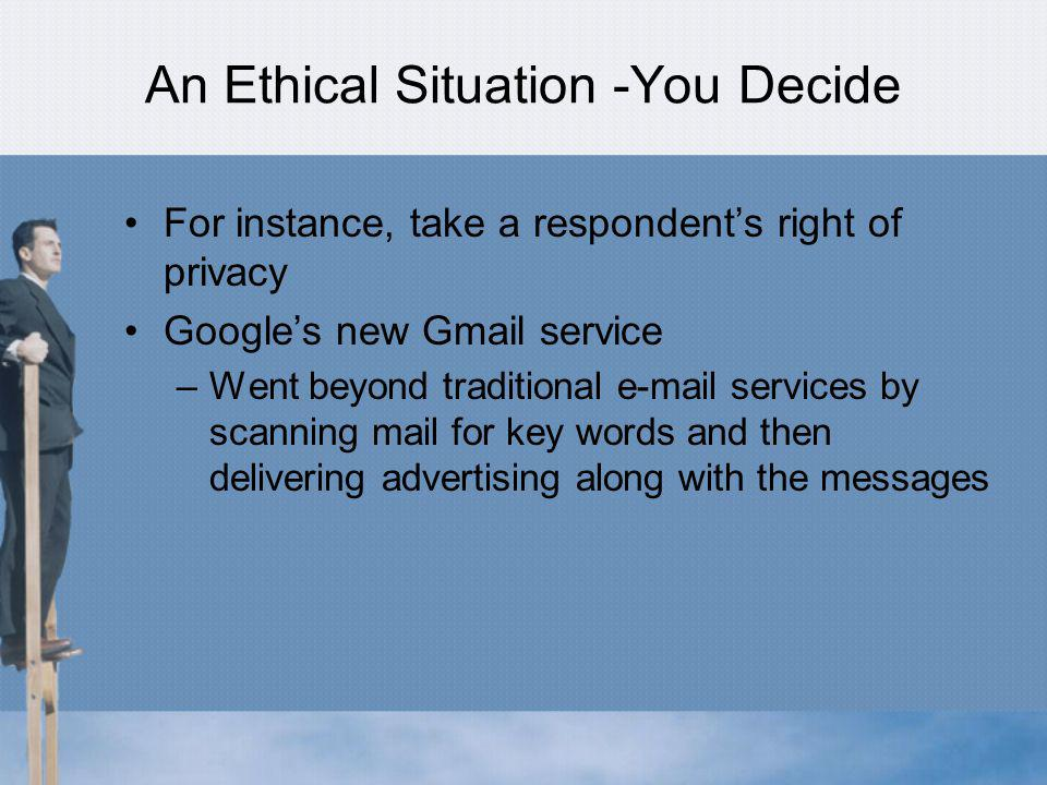 An Ethical Situation -You Decide