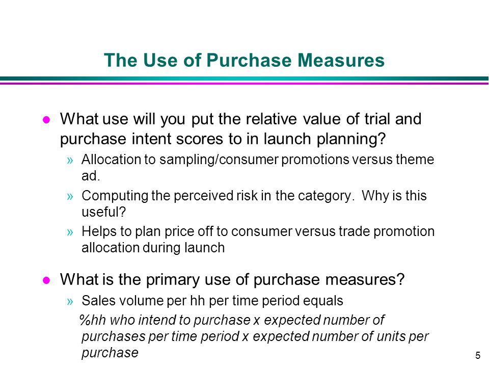The Use of Purchase Measures
