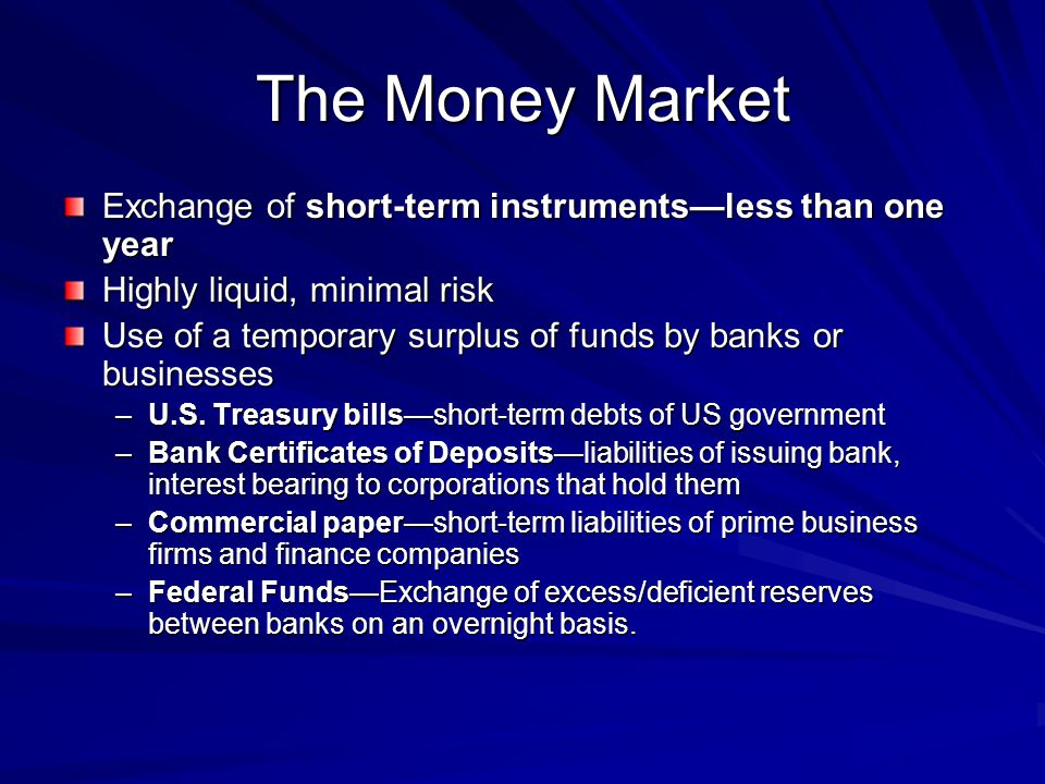 The Money Market Exchange of short-term instruments—less than one year