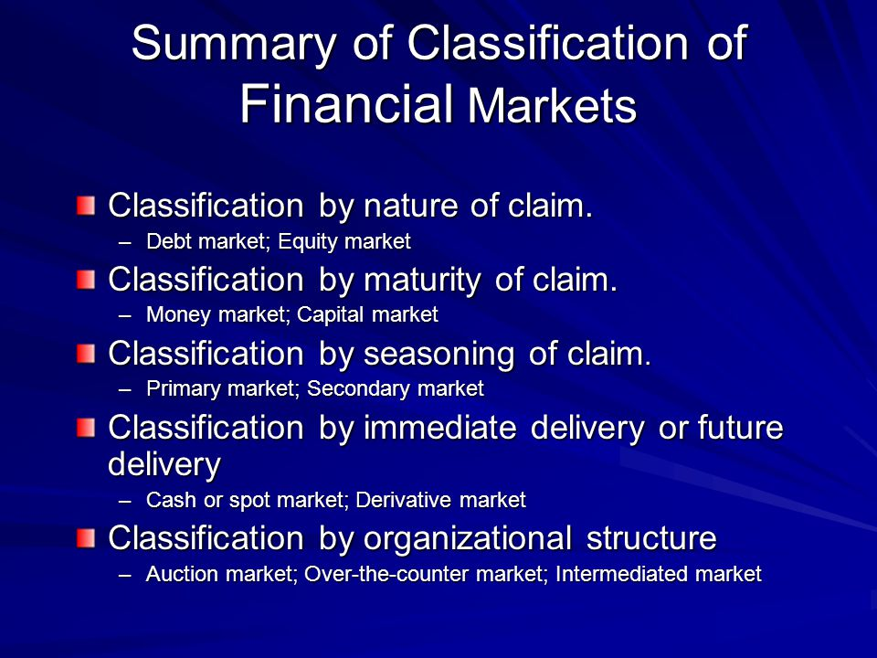 Summary of Classification of Financial Markets