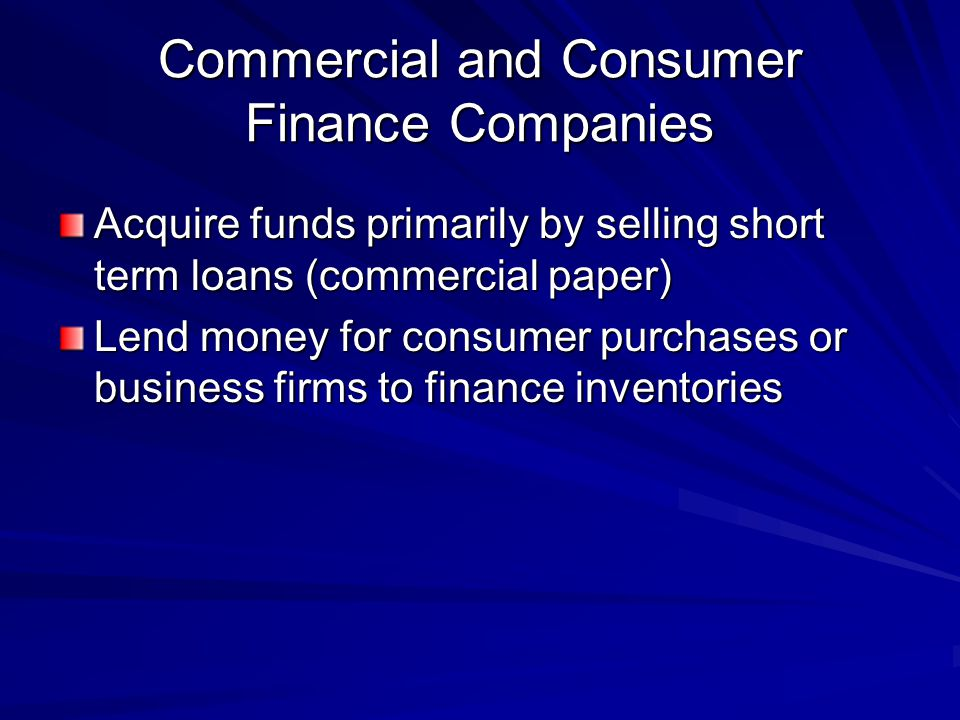 Commercial and Consumer Finance Companies
