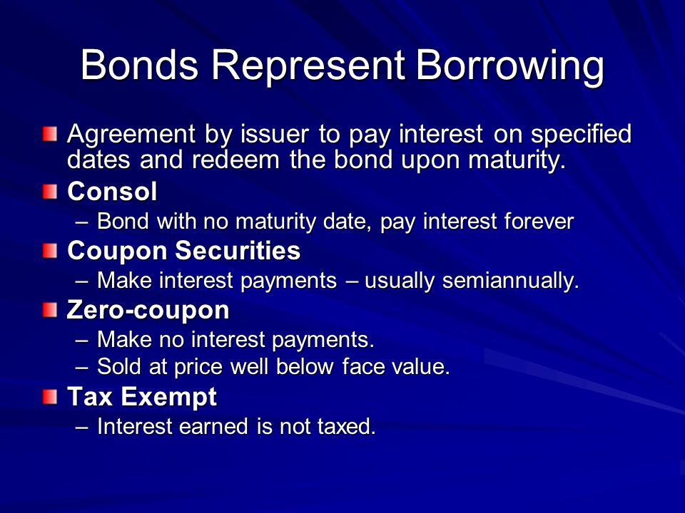 Bonds Represent Borrowing