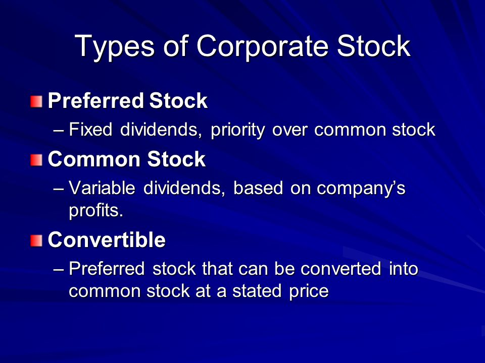 Types of Corporate Stock