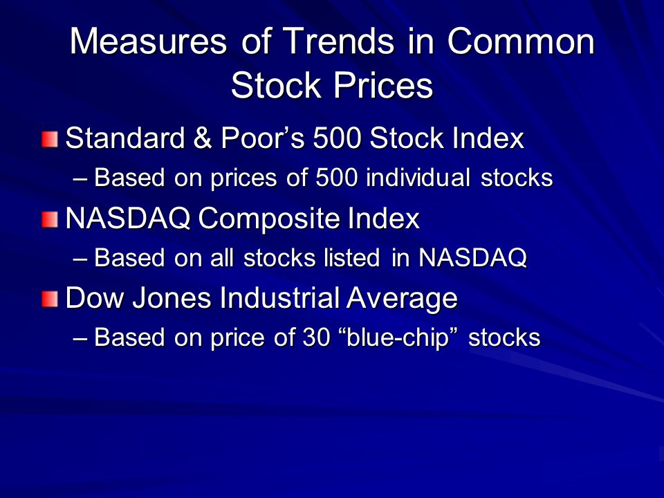 Measures of Trends in Common Stock Prices