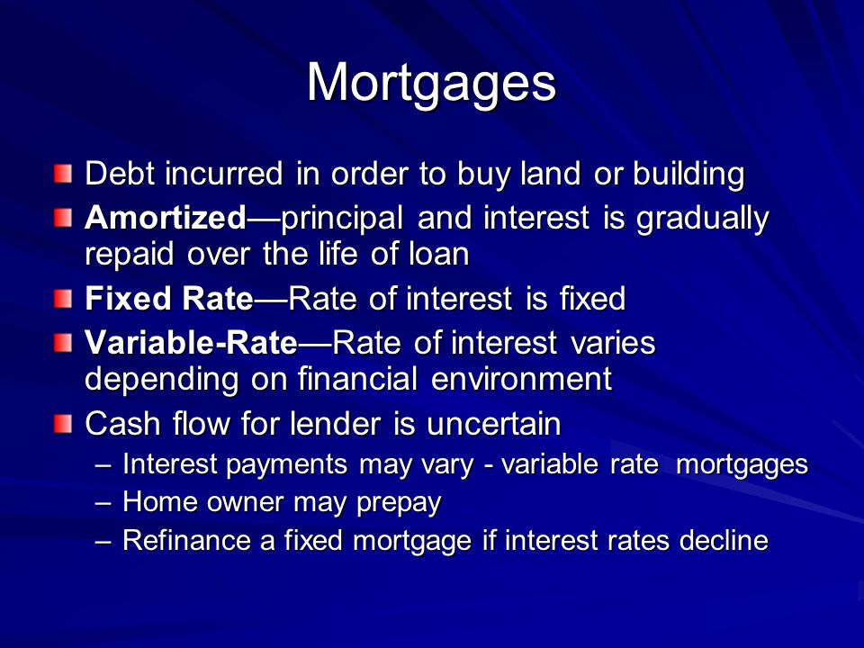 Mortgages Debt incurred in order to buy land or building