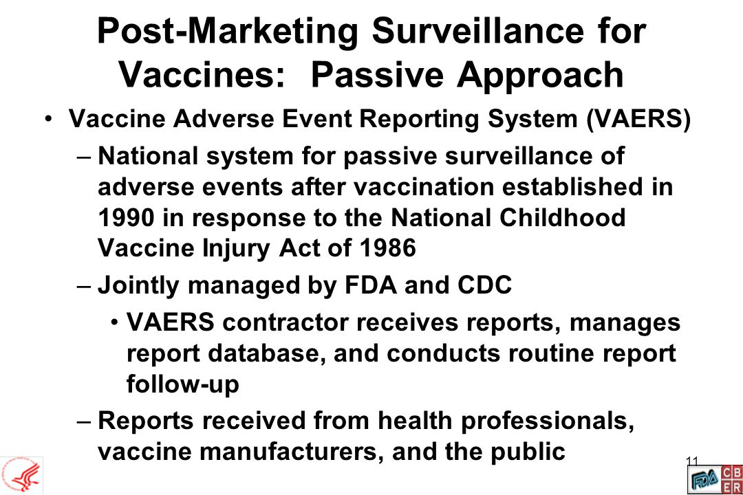 Post-Marketing Surveillance for Vaccines: Passive Approach