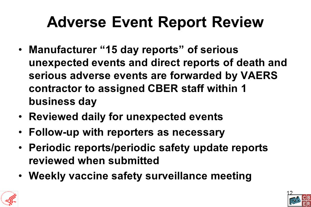 Adverse Event Report Review