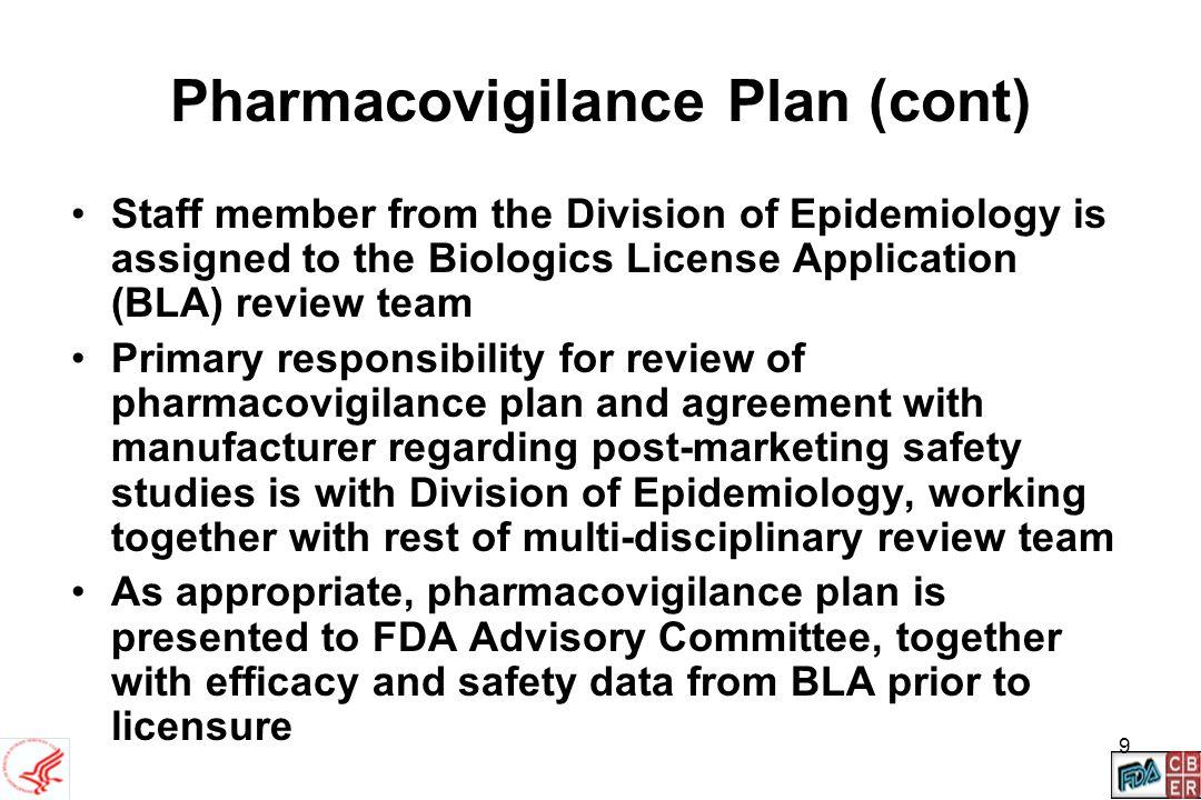 Pharmacovigilance Plan (cont)
