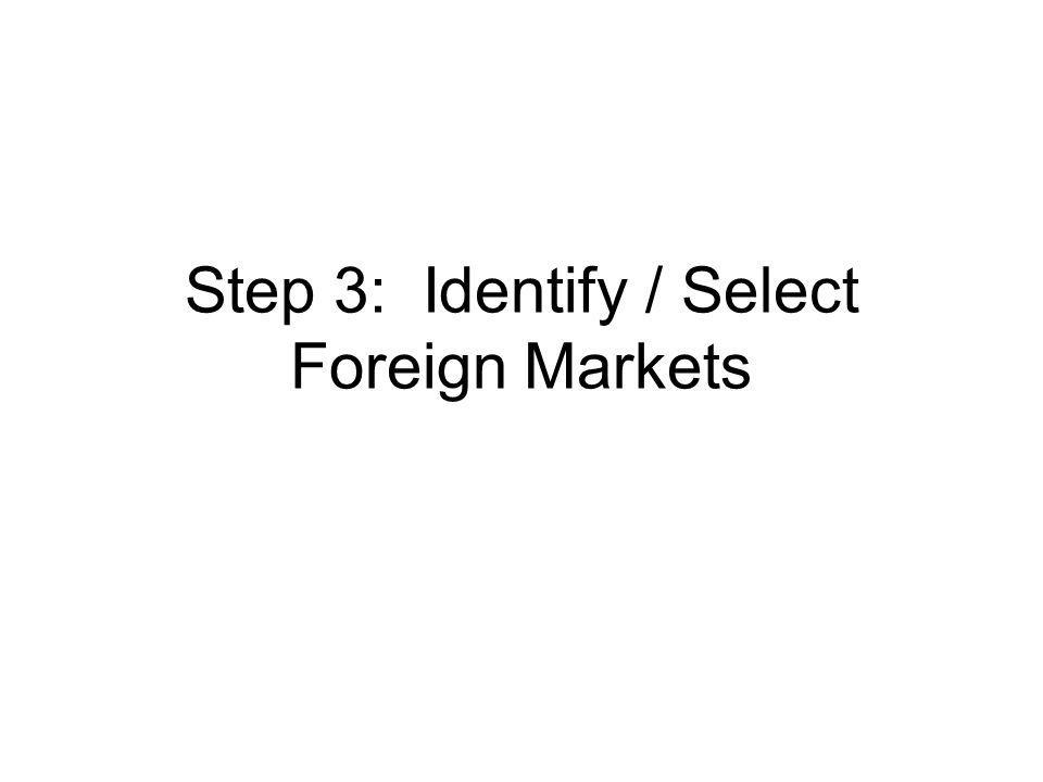 Step 3: Identify / Select Foreign Markets