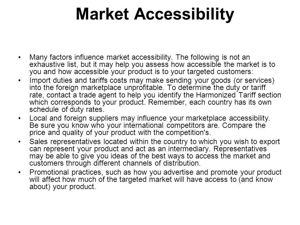Market Accessibility