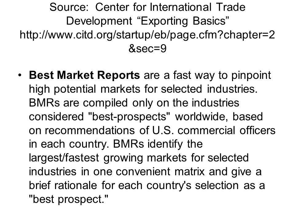 Source: Center for International Trade Development Exporting Basics http://www.citd.org/startup/eb/page.cfm chapter=2&sec=9