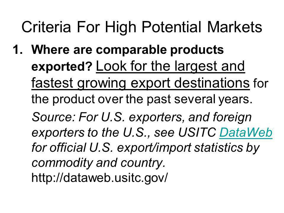 Criteria For High Potential Markets