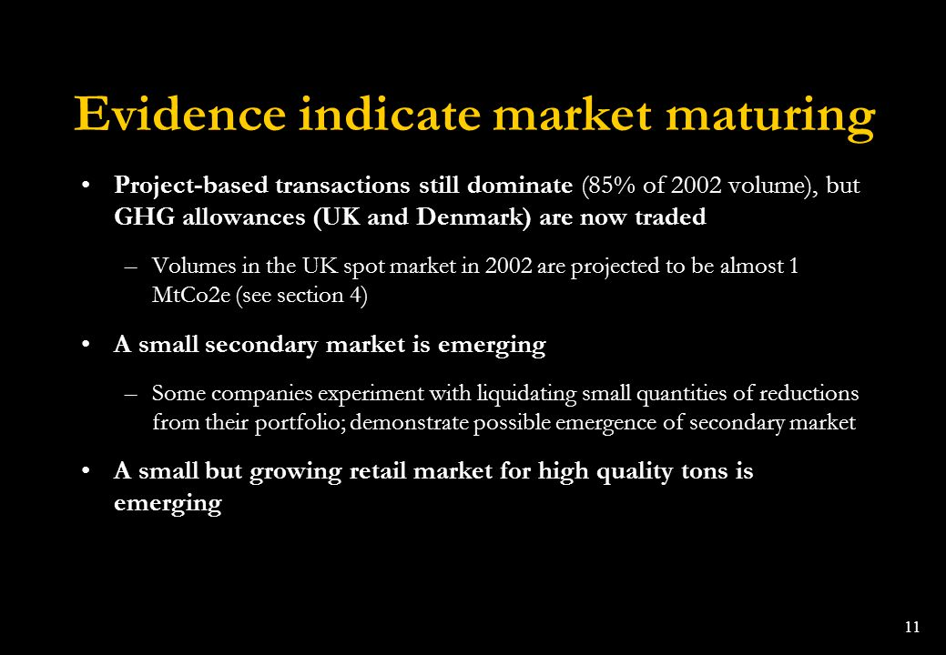 Evidence indicate market maturing