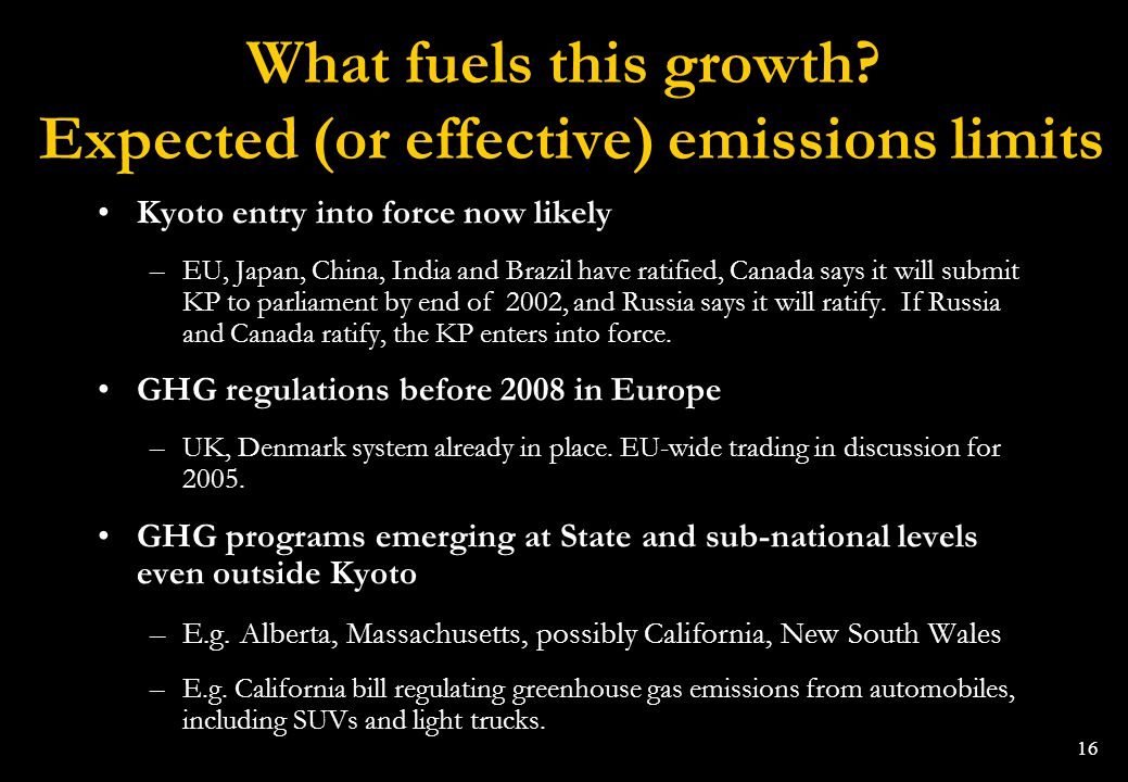 What fuels this growth Expected (or effective) emissions limits