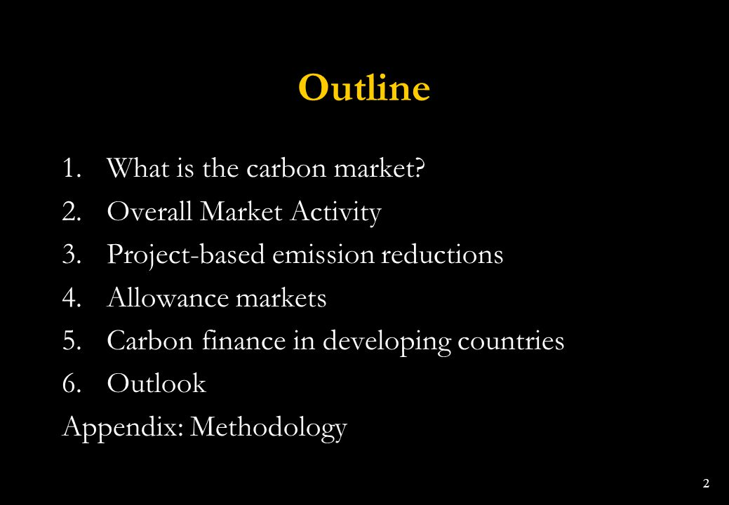 Outline What is the carbon market Overall Market Activity
