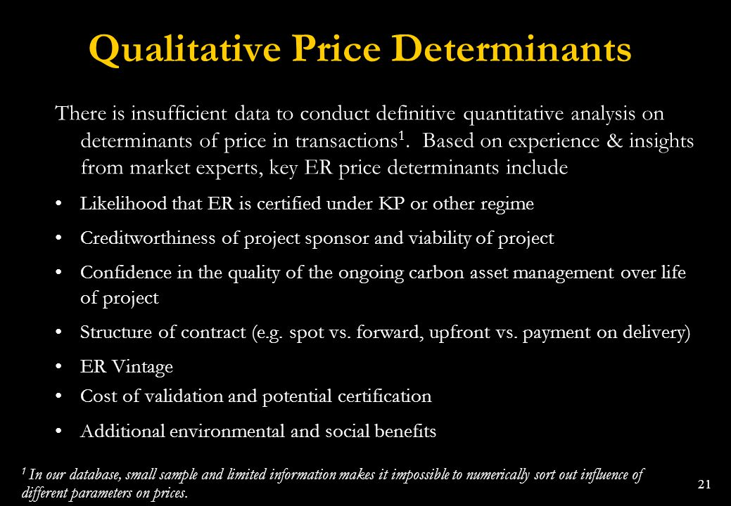 Qualitative Price Determinants