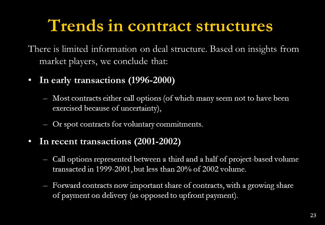 Trends in contract structures