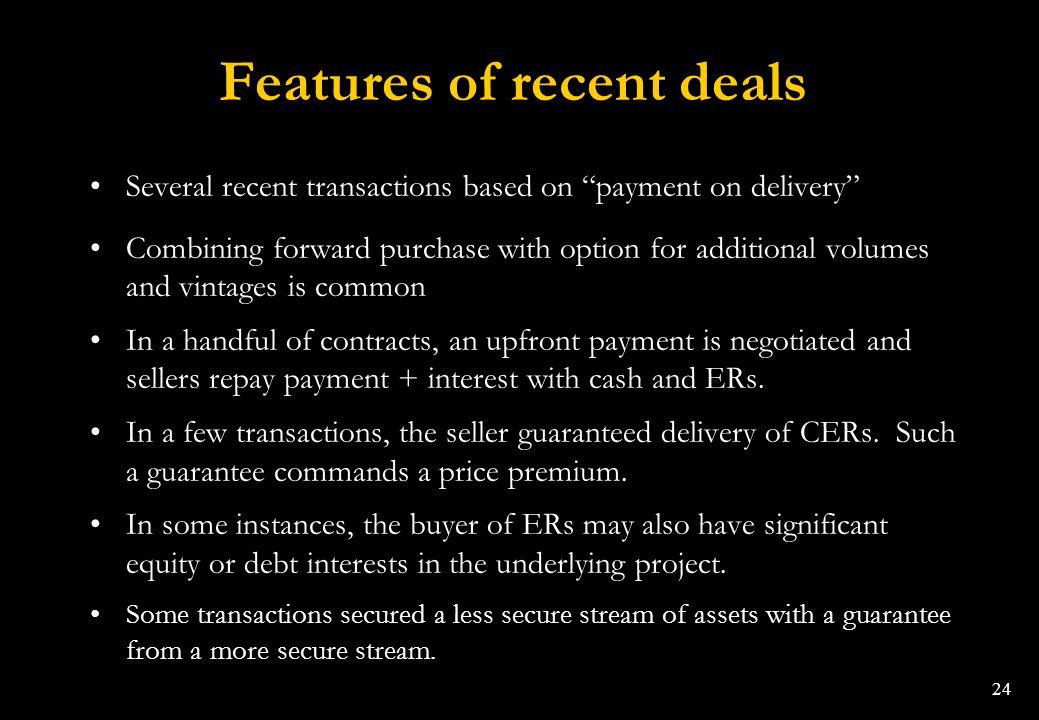 Features of recent deals