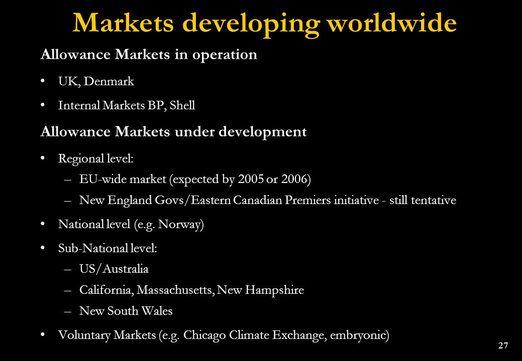 Markets developing worldwide