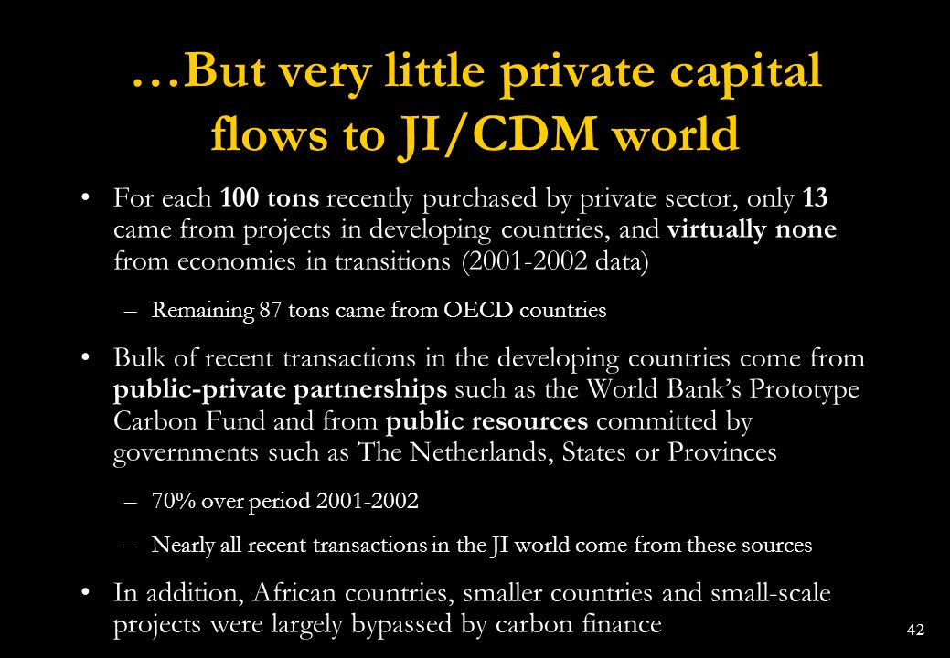 …But very little private capital flows to JI/CDM world