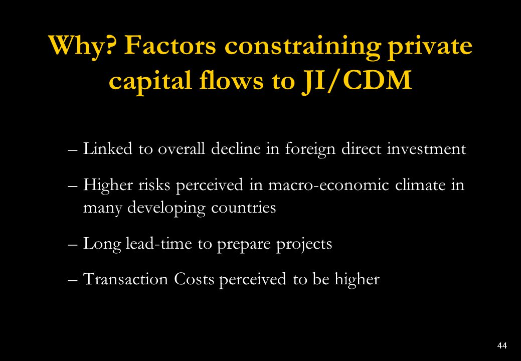 Why Factors constraining private capital flows to JI/CDM