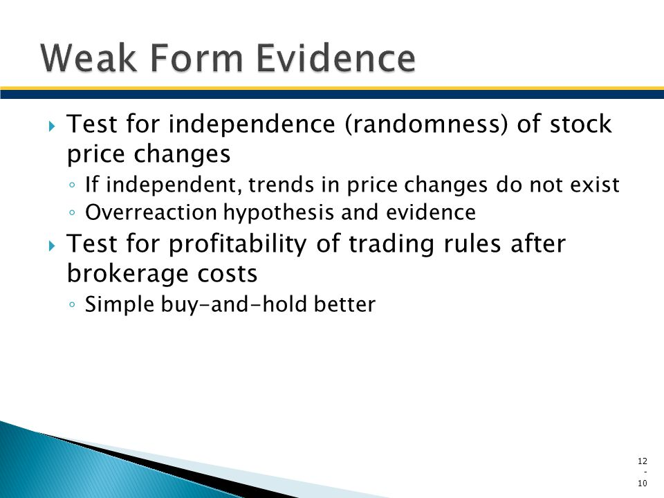 Weak Form Evidence Test for independence (randomness) of stock price changes. If independent, trends in price changes do not exist.