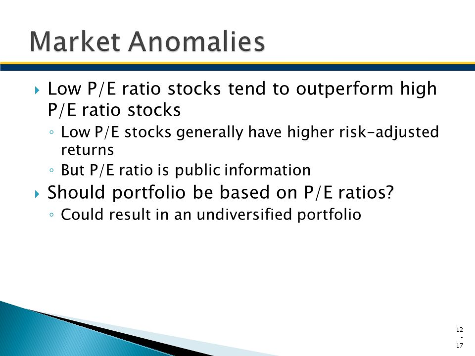 Market Anomalies Low P/E ratio stocks tend to outperform high P/E ratio stocks. Low P/E stocks generally have higher risk-adjusted returns.