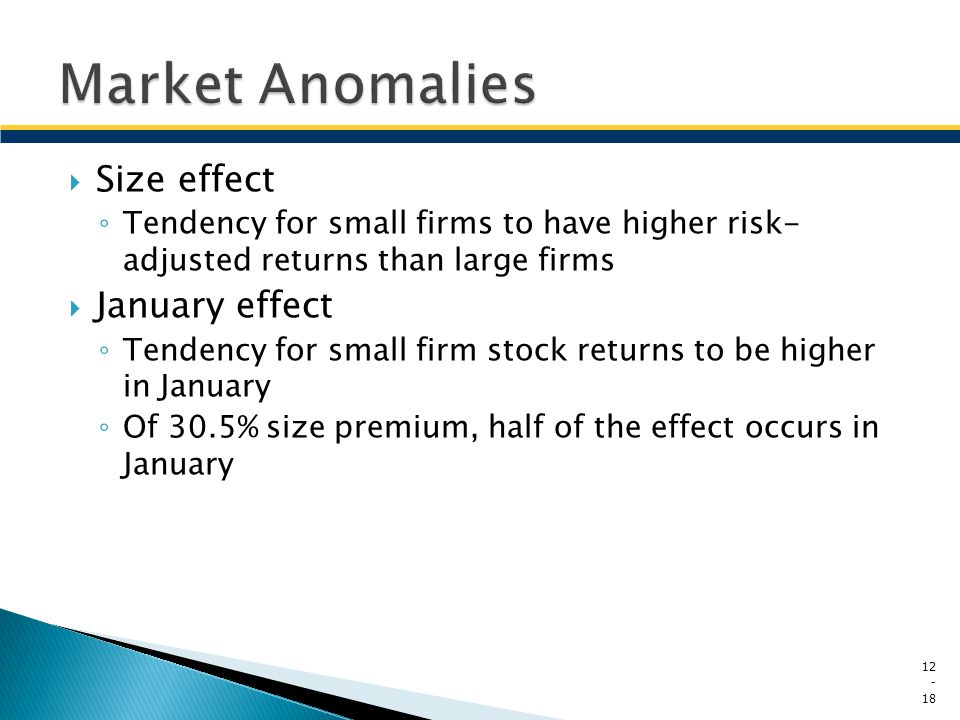 Market Anomalies Size effect January effect