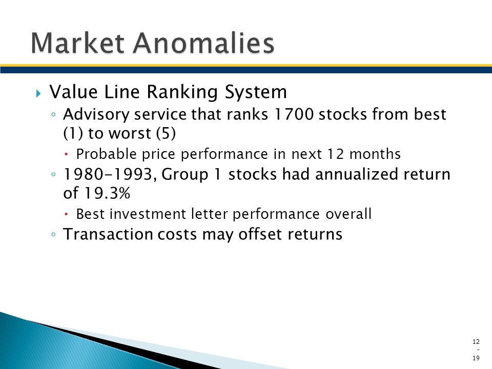 Market Anomalies Value Line Ranking System