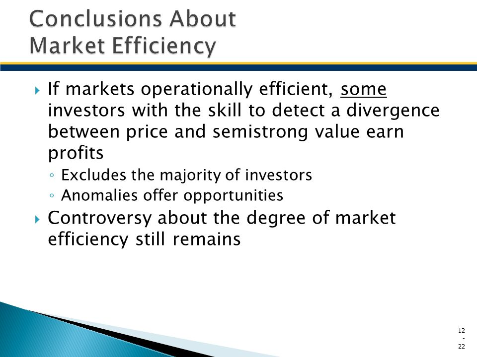 Conclusions About Market Efficiency