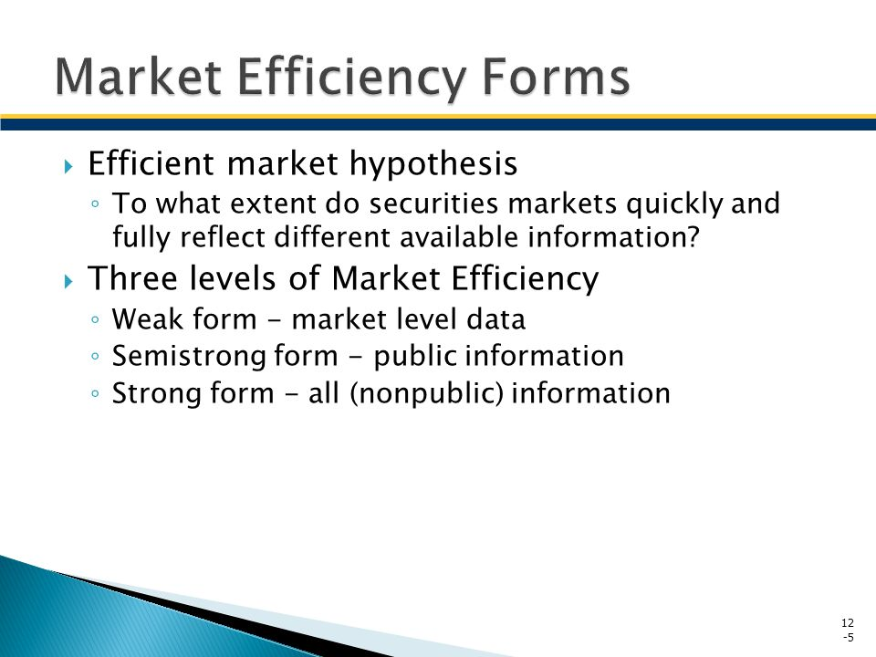 Market Efficiency Forms