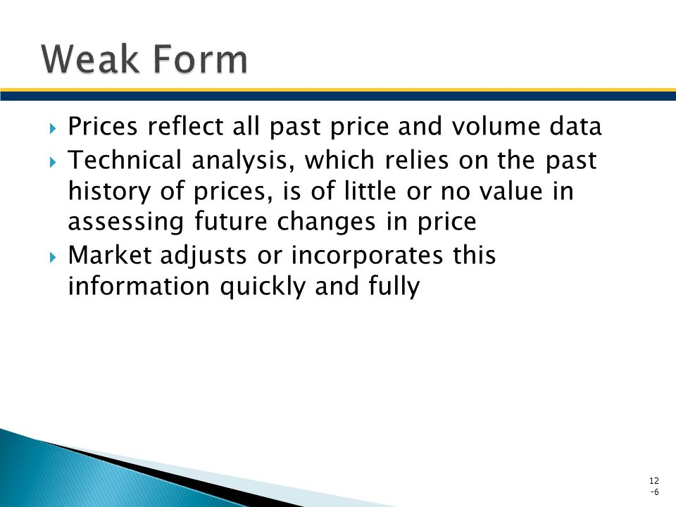 Weak Form Prices reflect all past price and volume data