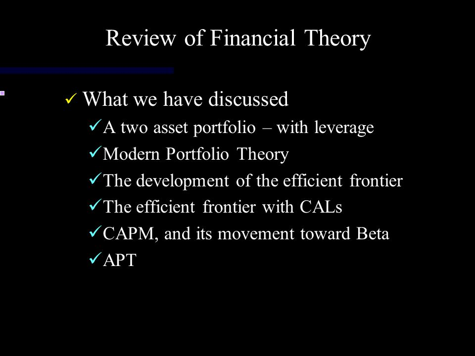 Review of Financial Theory
